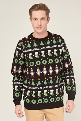 Mixed Christmas Print Knitted Jumper