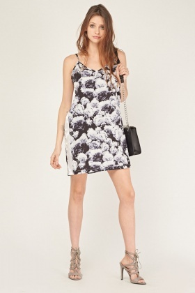 Rose Printed Slip On Dress