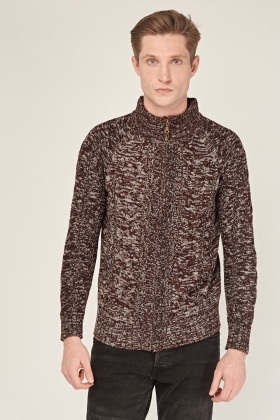 Speckled Knitted Zip Up Jumper