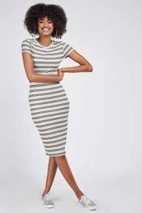 Metallic Stripe Rib Midi Dress