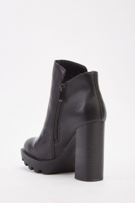 Block High Heel Ankle Boots