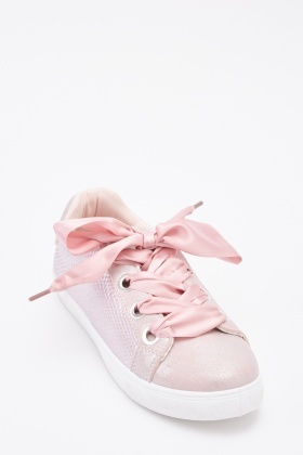 Contrast Mock Croc Ribbon Lace Up Trainers