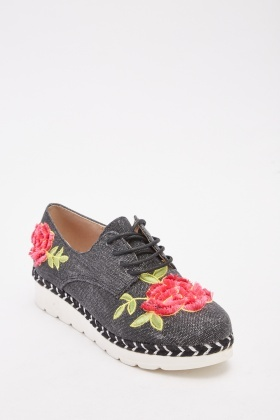 Flower Embroidered Denim Chunky Plimsolls