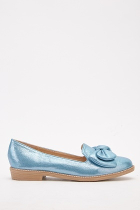 Metallic Bow Trim Loafers