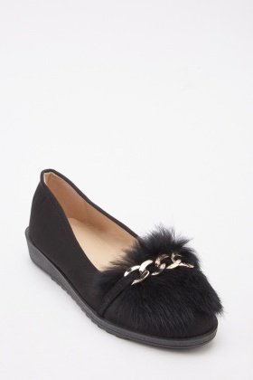 Real Fur Flat Shoes