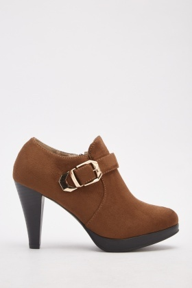Suedette Buckle Detailed Ankle Boots