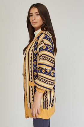 Aztec Tribal Pattern Knit Cardigan
