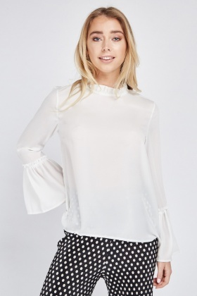 Bell Sleeve Faux Pearl Top