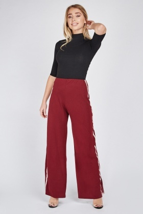 Burgundy Contrast Wide Leg Jogger Style Pants