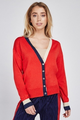 Contrast Button Up Cardigan
