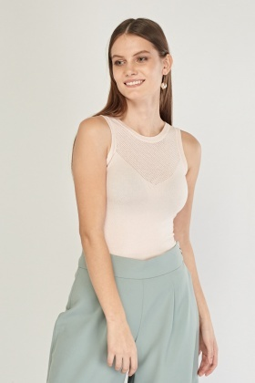 Contrasted Sleeveless Fine Knit Top
