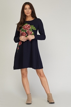 Embossed Flower Print Swing Dress