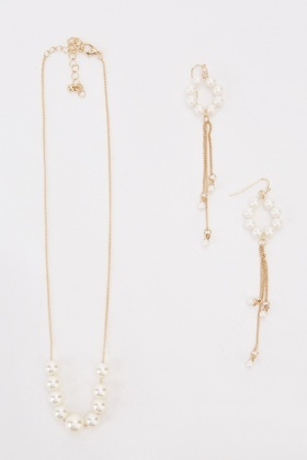 Faux Pearl Necklace And Dangly Earrings Set