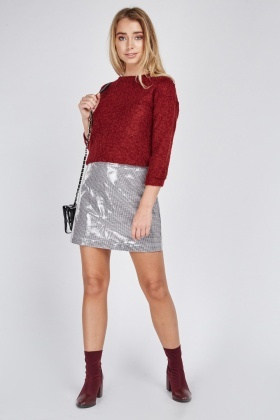 Herringbone Vinyl Mini Skirt