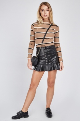 Lace Up Peplum Skirt