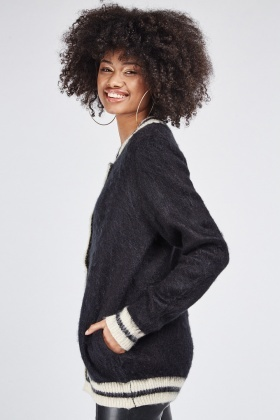 Long Sleeve Contrasted Cardigan
