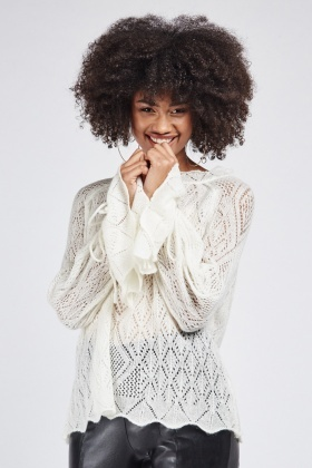 Patterned Loose Knit Pullover