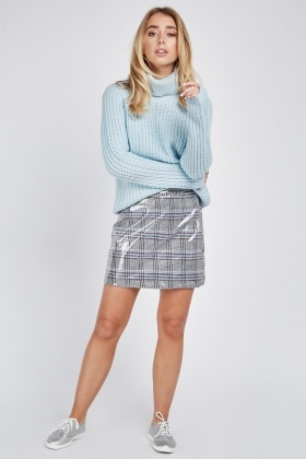 Plaid Vinyl Mini Skirt