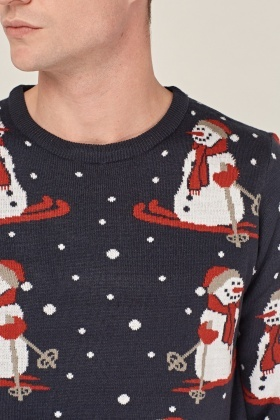 Snowman Printed Knitted Jumper