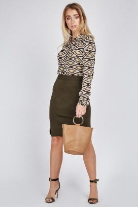 Studded Side Midi Skirt