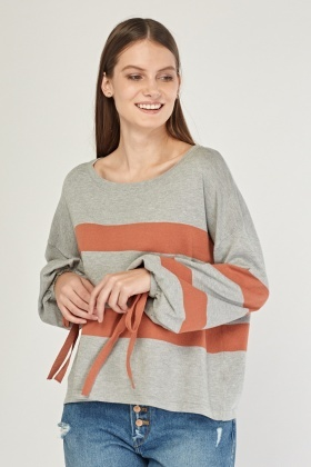 Tie Up Sleeve Striped Knit Sweater