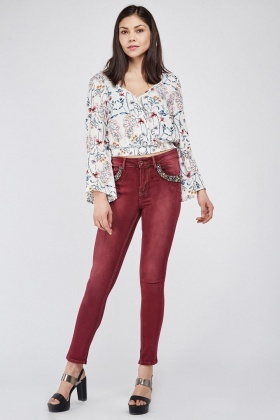 Heavily Embellished Pocket Front Skinny Jeans