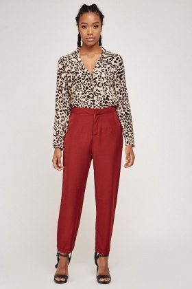 Maroon Stirrup Tapered Trousers