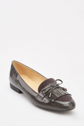 PVC Fringed Bow Front Loafers