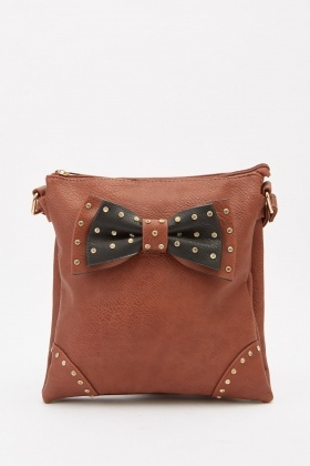 Studded Bow Front Cross Body Bag