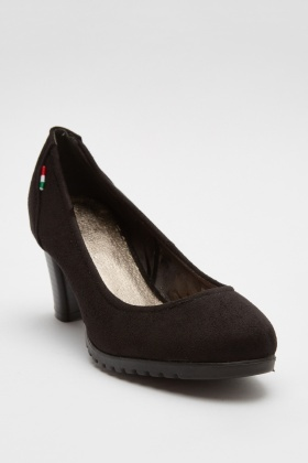 Suedette Block Heeled Pump Shoes