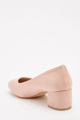 Suedette Court Heeled Shoes
