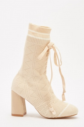 Tie Up Knitted Sock Overlay Boots