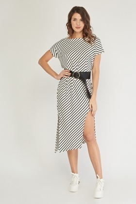 Asymmetric Striped Midi Dress