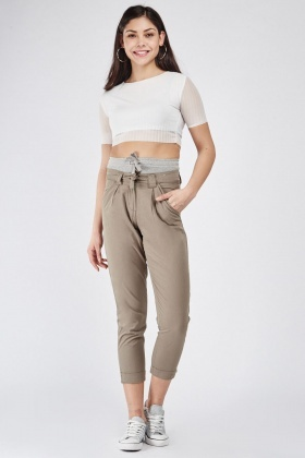 Contrasted Tapered Crop Trousers