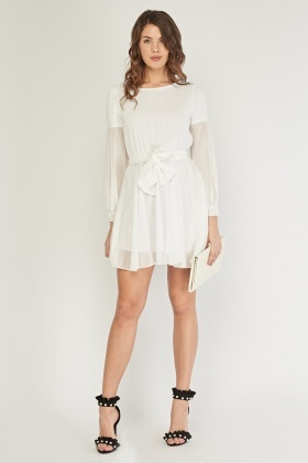 Sheer Bishop Sleeve Tunic Dress