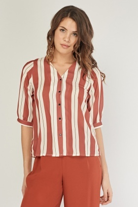 Striped 3/4 Length Sleeve Blouse
