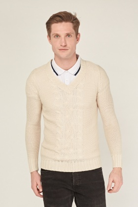 Cable Knit V Neck Jumper