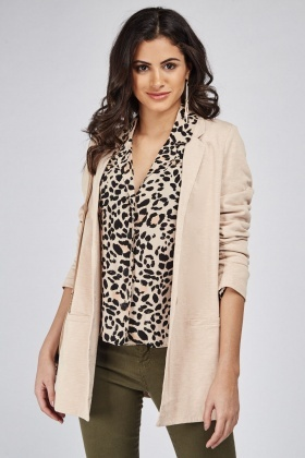 Casual Nude Long Blazer