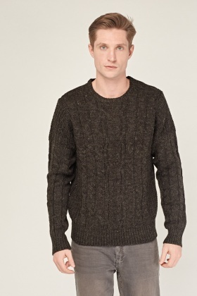 Charcoal Cable Knit Chunky Jumper