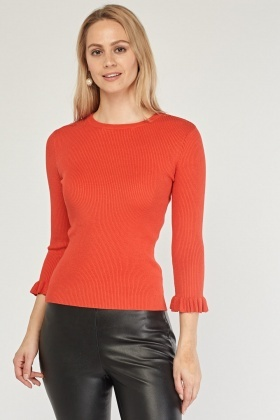 Frilled Sleeve Ribbed Knit Top