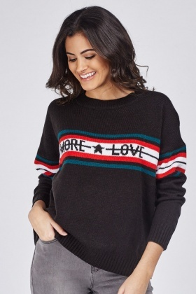 Graphic Front Long Sleeve Jumper