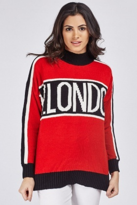 High Neck Contrasted Jumper