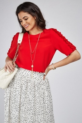 Ruched Sleeve Red Top