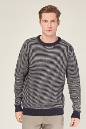 Textured Navy Striped Jumper