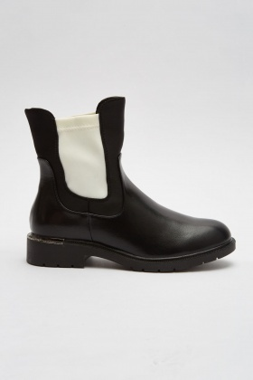 Contrasted Scuba Trim Ankle Boots