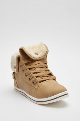 Fluffy High Top Trainers