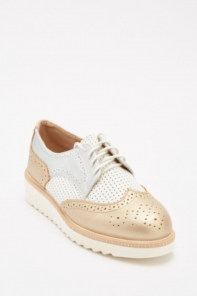 Metallic Perforated Brogue Shoes