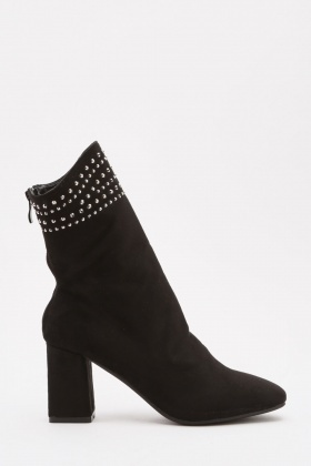 Studded Trim Suedette Boots
