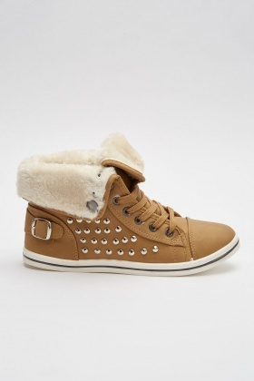 Teddy Fur Trim Trainers
