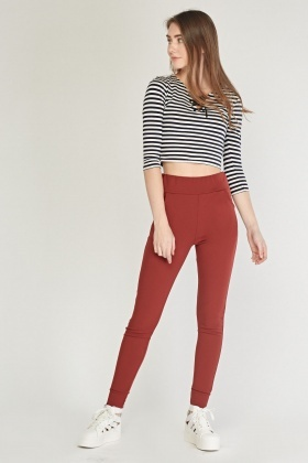 Fitted Ankle Cuffed Skinny Trousers